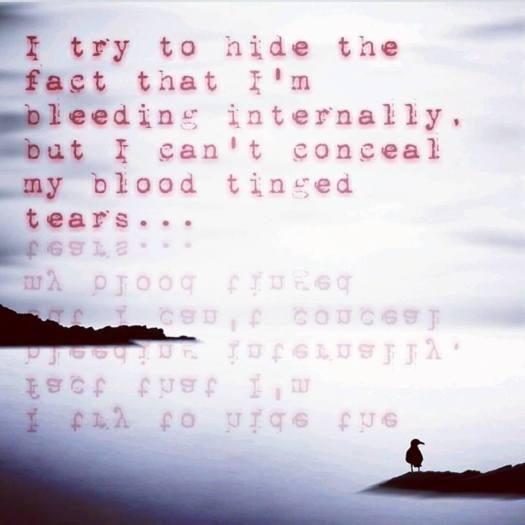 blood tinged tears